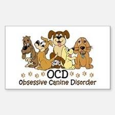 OCD Obsessive Canine Disorder Sticker (Rectangle)