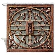 Carved Wooden Door, with Chinese Mo Shower Curtain