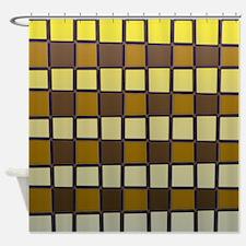 Yellow Checks Shower Curtain