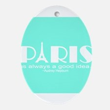 Paris Audrey Hepburn Mint Green Ornament (Oval)