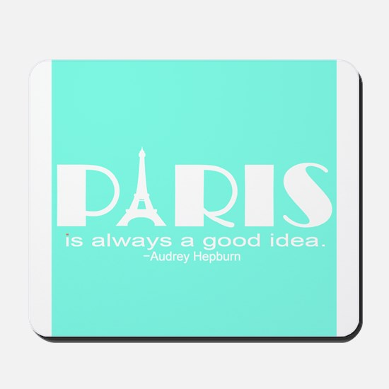 Paris Audrey Hepburn Mint Green Mousepad
