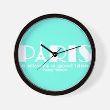 Paris Audrey Hepburn Mint Green Wall Clock