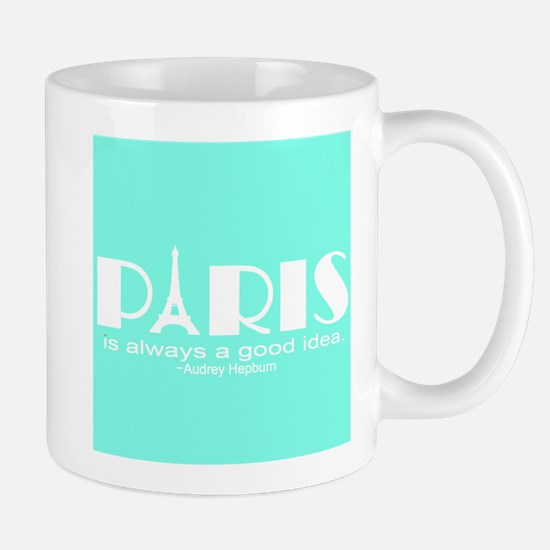 Paris Audrey Hepburn Mint Green Mugs
