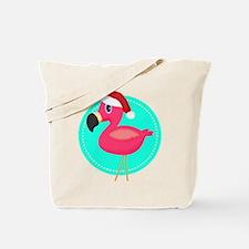 Teal Pink Christmas Flamingo Tote Bag