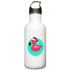 Teal Pink Christmas Flamingo Water Bottle