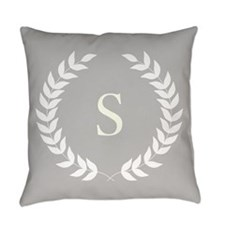 Grey and White Monogram Laurel Wreath Everyday Pil