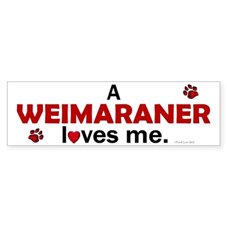 A Weimaraner Loves Me Bumper Sticker
