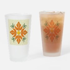 Hawaiian Style Flower Quilt  Drinking Glass