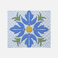 Hawaiian Style Flower Quilt  Throw Blanket
