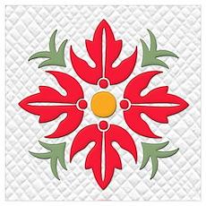Hawaiian Style Flower Quilt  Poster