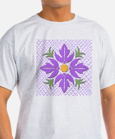 Hawaiian Style Flower Quilt Purple T-Shirt