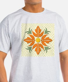 Hawaiian Style Flower Quilt Orange T-Shirt