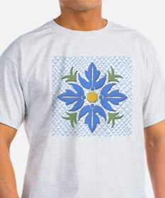 Hawaiian Style Flower Quilt Blue T-Shirt