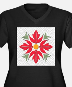 Hawaiian Style Flower Quilt Red Plus Size T-Shirt