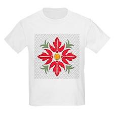 Hawaiian Style Flower Quilt Red T-Shirt