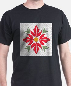 Hawaiian Style Flower Quilt Red T-Shirt