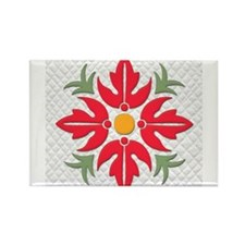 Hawaiian Style Flower Quilt Magnets