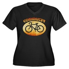 BIKE COMMUTER Women's Plus Size V-Neck Dark T-Shir