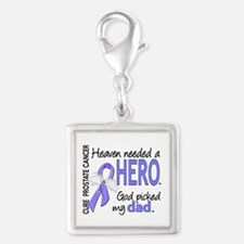 Prostate Cancer HeavenNeededH Silver Square Charm
