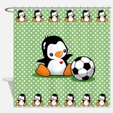 Soccer Penguin Shower Curtain
