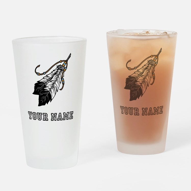 Native American Feathers (Custom) Drinking Glass