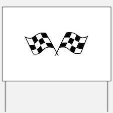 Checkered Racing Flags Yard Sign