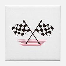 Crossed Checkered Flags Tile Coaster