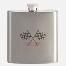 Crossed Checkered Flags Flask