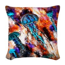 Jellyfish Jump Electric Woven Throw Pillow