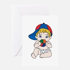 Baby Boy with Ball Greeting Cards