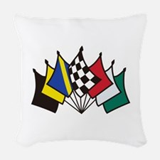 7 Racing Flags Woven Throw Pillow