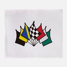 7 Racing Flags Throw Blanket