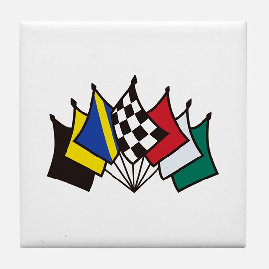 7 Racing Flags Tile Coaster