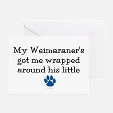 Wrapped Around His Paw (Weimaraner) Greeting Card