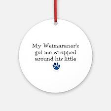 Wrapped Around His Paw (Weimaraner) Ornament (Roun
