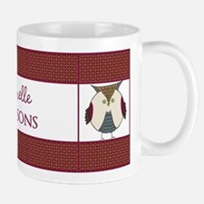 Maroon Personalized Owl Pattern Backgro Mug