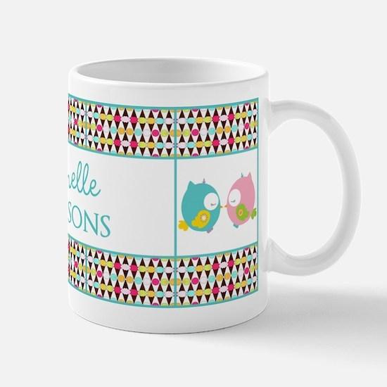 Personalized Name Cute Girly Owls Mug