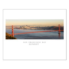 aerial golden gate bridge sunset small posters