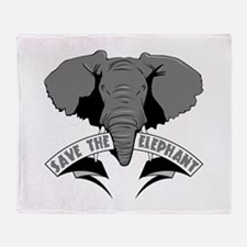 Save The Elephant Throw Blanket