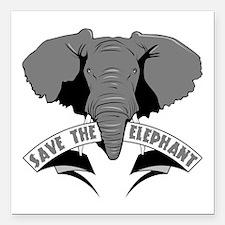 "Save The Elephant Square Car Magnet 3"" x 3"""