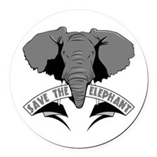 Save The Elephant Round Car Magnet