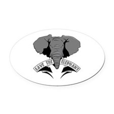 Save The Elephant Oval Car Magnet