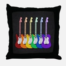 Rainbow Guitars Throw Pillow