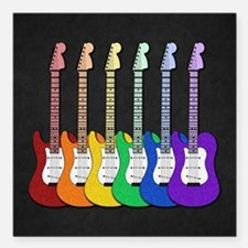 """Rainbow Guitars Square Car Magnet 3"""" x 3"""""""