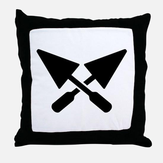 Mason crossed trowel Throw Pillow