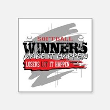 "Winners and Losers Softball Square Sticker 3"" x 3"""