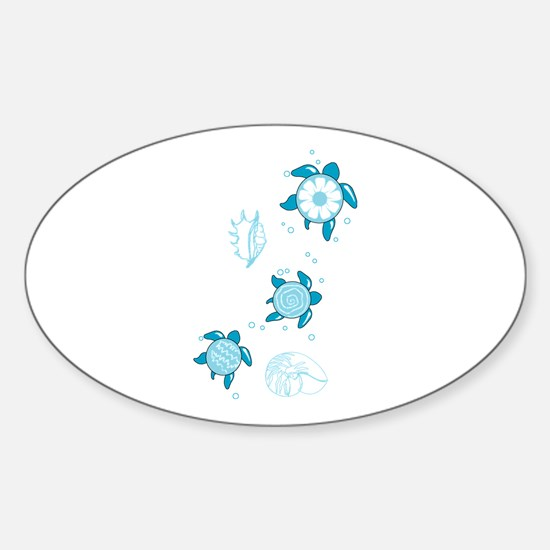 3 Turtles Oval Decal