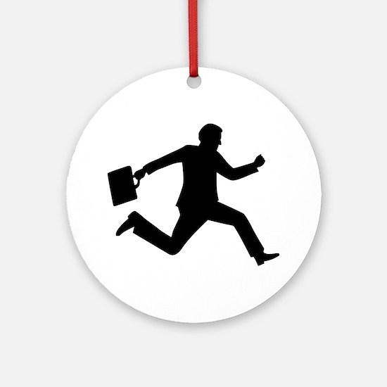 Jumping running business man Ornament (Round)