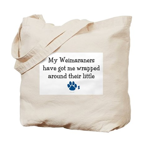 Wrapped Around Their Paws (Weimaraner) Tote Bag