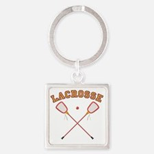 Lacrosse Sticks Square Keychain